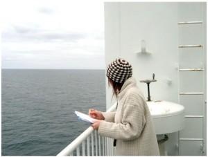 Sarah surveying jellies